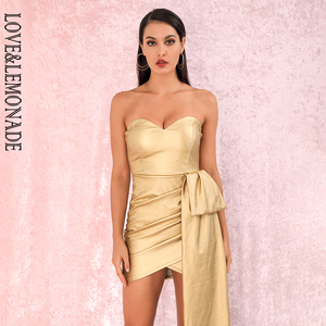 Image 4 - LOVE&LEMONADE Sexy Gold Bandeau V Neck Double Streamers Cross PU Material Mini Party Dress LM82017