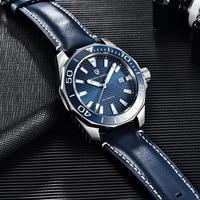 PAGRNE DESIGN-Reloj de pulsera para hombre, mecánico, automático, de cuero, de marca superior, de cristal de zafiro, de acero inoxidable, deportivo, de negocios, NH35A