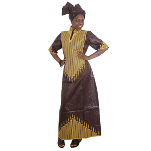 Image 2 - MD african bazin dresses for women embroidery long dress chiffon head wrap south africa lady clothes evening party dresses