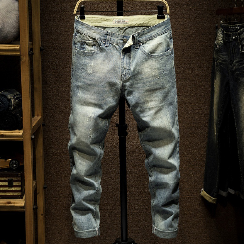 New Style Hong Kong Style Popular Brand With Holes Jeans Men's Korean-style Slim Fit Pants South Korea Retro [QQ Group: 58411717