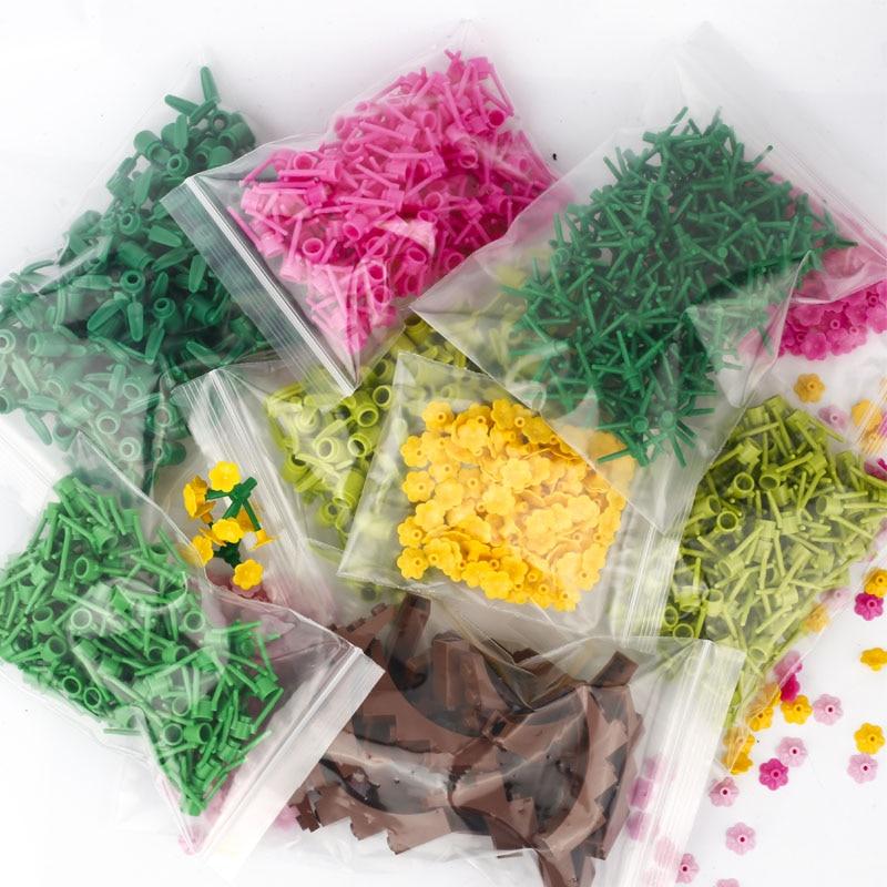 Строительные блоки MOC для детей, аксессуары для творчества, верстак с цветами, деревьями, бамбуковыми листьями, MOC, детали для сборки, игрушки...
