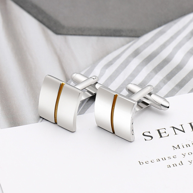 High-quality Simple Square Golden Lines Cufflinks 4