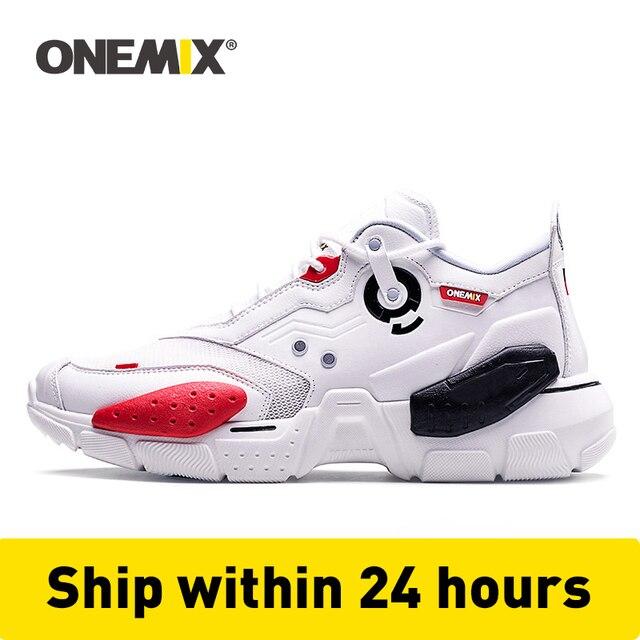 ONEMIX unisexe baskets grande taille 2020 nouvelle technologie Style cuir amortissement confortable hommes sport chaussures de course Tennis papa chaussures