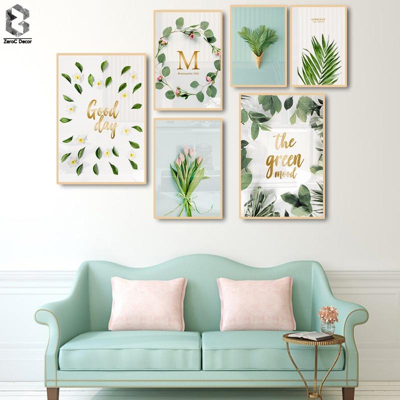 Botânico Flor Folhas Verdes Pintura Minimalista Nordic Folha de Impressão Da Parede Poster Arte Home Da Decoração Pintura Sala de estar Poster
