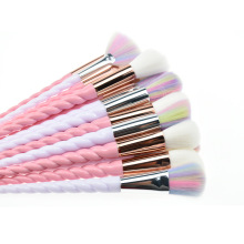 New 10 Unicorn Cosmetic Brushes Set Spiral Handle Conical Tools