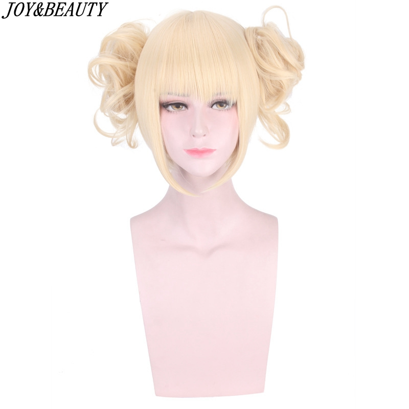 JOY&BEAUTY My Boku No Hero Academia Akademia Himiko Toga Synthetic Hair Short Light Blonde Wig Heat Resistant Cosplay Wig