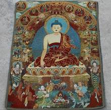 Estátua de cobre requintado suzhou bordado thangka fabricantes direto atacado coleção de requintado tibetano religioso e b
