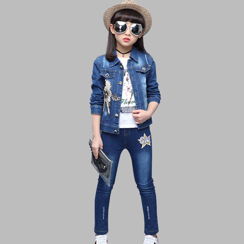 Детская одежда джинсовая куртка с аппликацией, джинсы и футболка комплект из 3 предметов для девочек, одежда с блестками для девочек новый осенний костюм для девочек Комплекты одежды      АлиЭкспресс