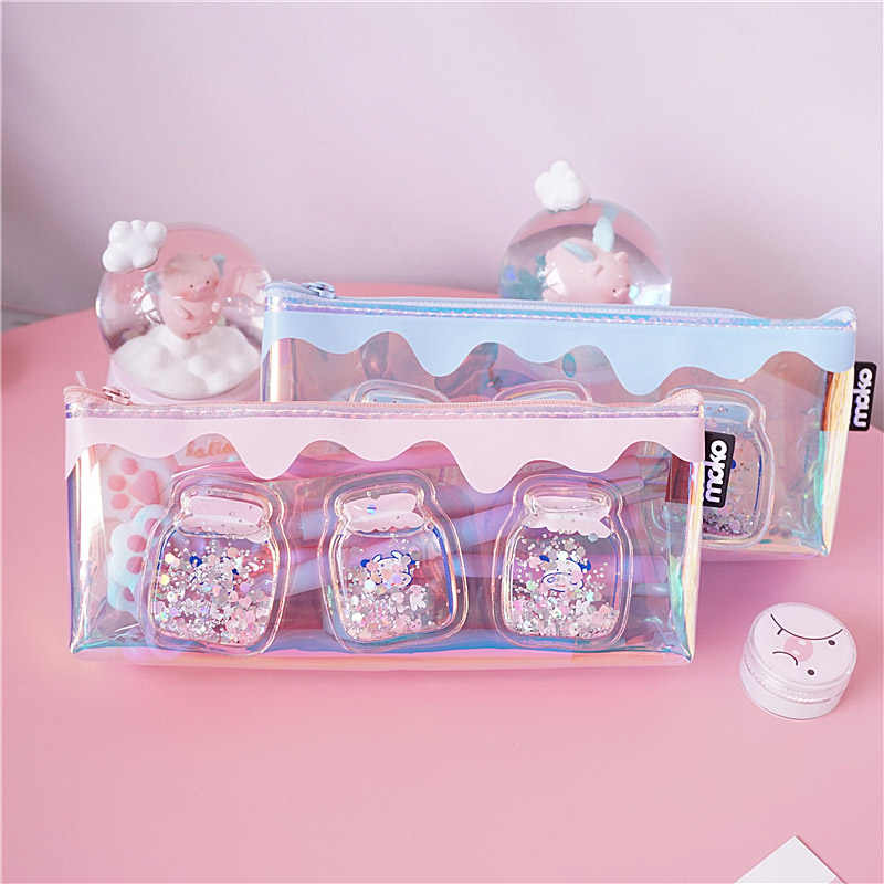 Cute Laser Pencil Case Creative Milk Pen Case Large Capacity Transparent Pencil Bag For Girls Gift School Supplies Stationery