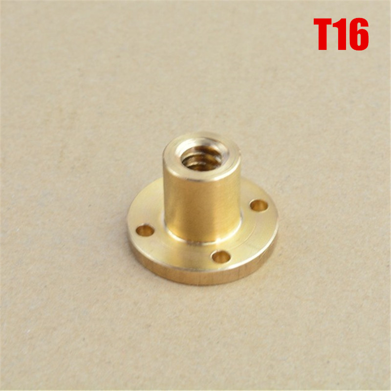1pcs T16 Screw Lead Brass Nut TR16 Flange T-type Trapezoidal Nut Pitch 4mm 3mm