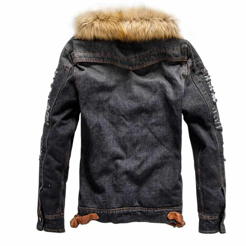 45-100KG duży rozmiar zima męska kurtka dżinsowa duża, futrzana kołnierz mężczyzna płaszcz polar ciepła odzież wierzchnia mężczyzna kowboj top na co dzień wysokiej jakości 4XL