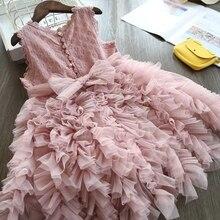 Летние платья для девочек без рукавов, пышное Сетчатое кружевное платье принцессы, детское вечерние чное платье с бантом на день рождения, д...