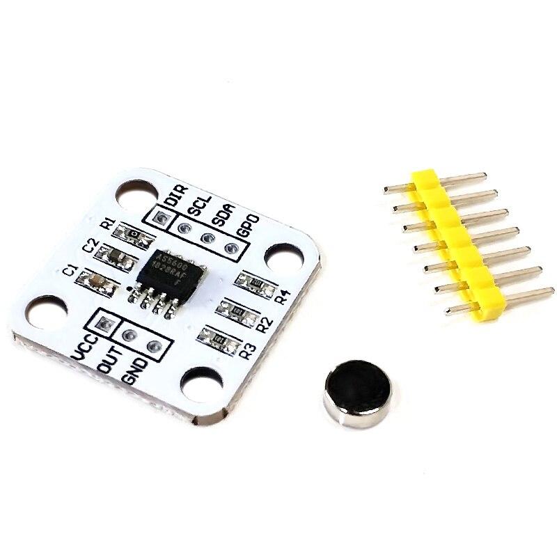 1 шт., магнитный датчик AS5600, индукционный модуль датчика измерения угла, 12 бит, высокая точность