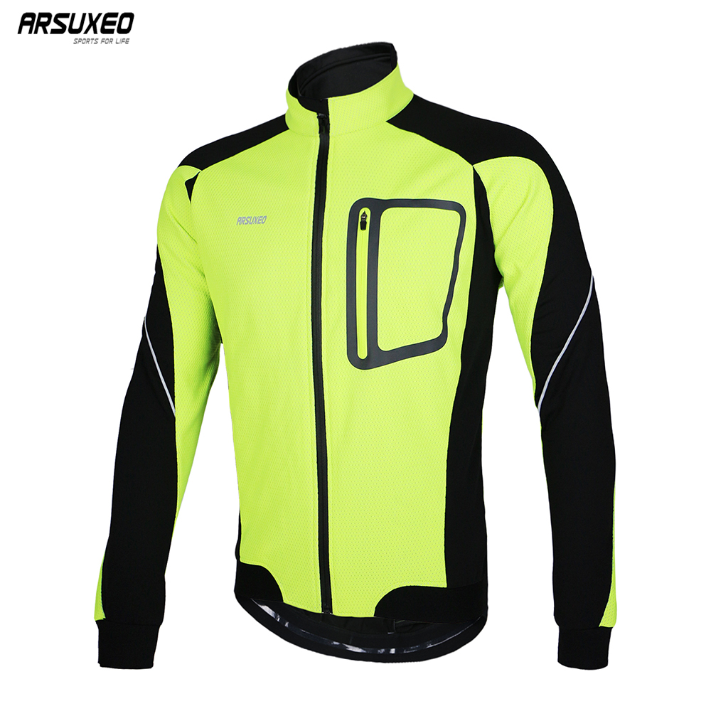 ARSUXEO Men's Cycling Jacket Winter Warm Up Thermal Bicycle Clothing Windbreaker Waterproof MTB Mountain Bike Jersey Coat 14D|Cycling Jackets| |  - title=