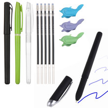 Novo kit de caneta de desvanecimento automático recarga invisível azul tinta gel canetas mágicas caligrafia placa prática ferramentas