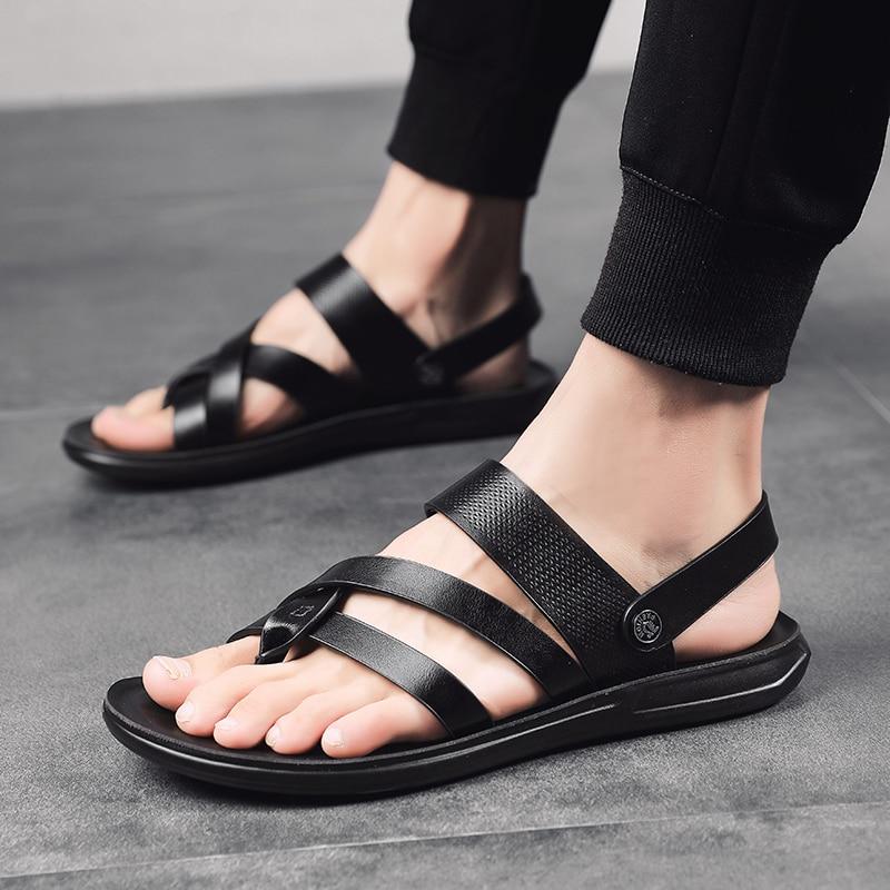 Men Shoes Summer Men Sandals Leather Fashion Shoes Tenis Masculino Adulto Breathable Beach Sandals For Men Zapatillas De Hombre