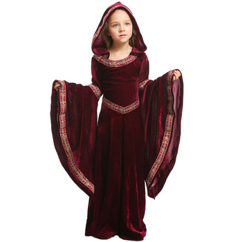 Halloween Costume for Children Wine Red and Black Vampire Children's Girls Party Cosplay Performance Clothing European Medieval