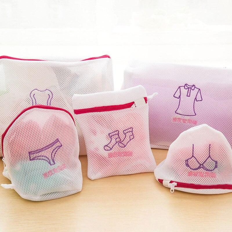 5 Size Laundry Net Bag Laundry Basket Undergarment Wash Underwear Wash Undergarment Wash Thickened Double Zip Net Bag 1PC
