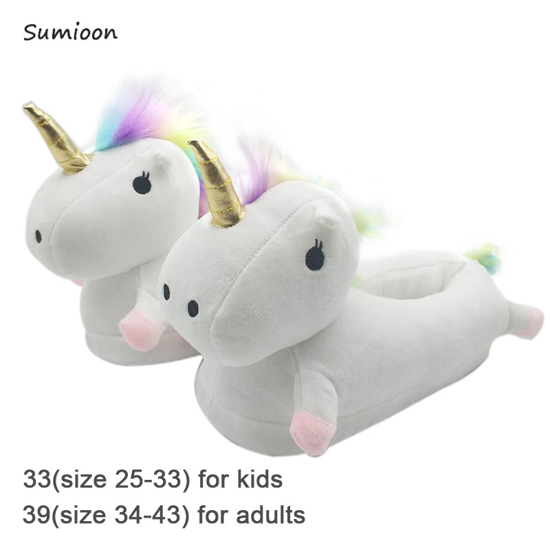 Funny Family Matching Shoes Kids Slippers Unicorn Plush Slippers Cartoon Cute Baby Cotton Home Shoes Boys Girls Slippers White