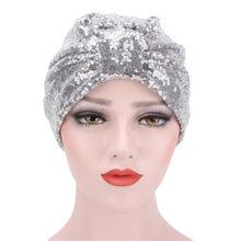 2021 новые женские блестящие пайетки тюрбан кепки мусульманский
