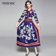 Vintage estampado Mujer vestido largo cuello vuelto Mujer elegante vestidos de fiesta de manga larga otoño nuevo vestido Floral Delgado mujer