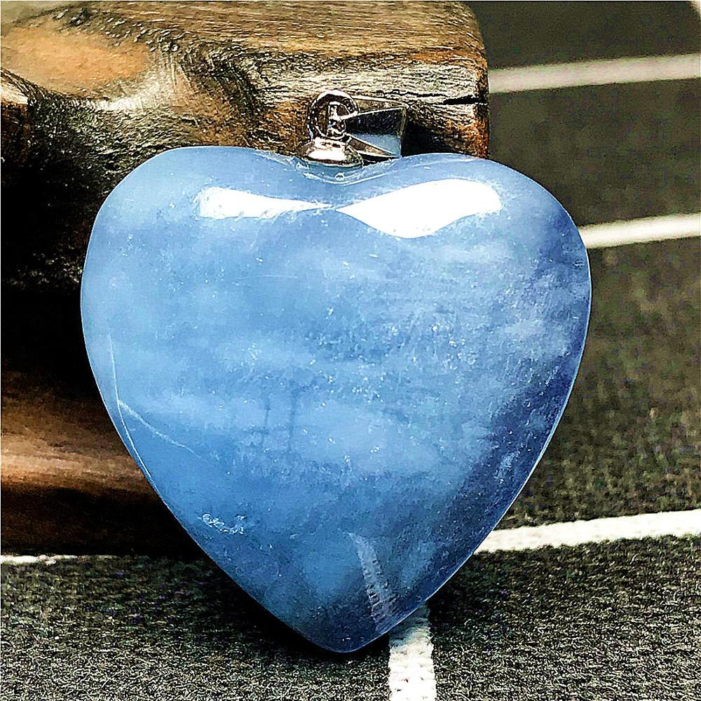 Natural Blue Aquamarine Pendant For Women Man Crystal 925 Silver 23x9mm Heart Shape Beads Stone Necklace Pendant Jewelry AAAAA