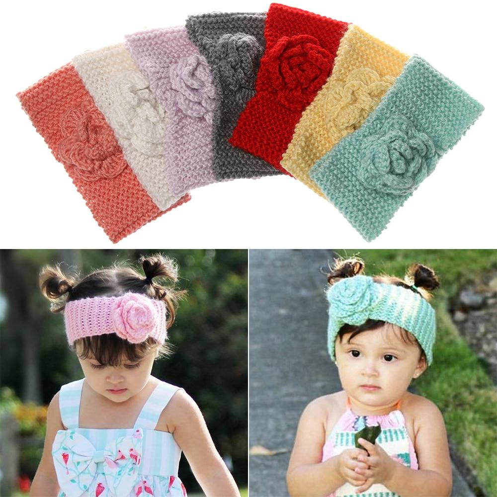 Baby Kids Turban Headband Flower Knitted Infant Crochet Hairband Warm Hair Wrap