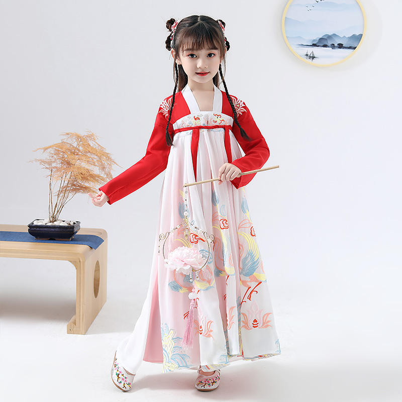 Girl Hanfu Chinese Traditional Dress For Kids Han/Tang Dynasty Fairy Red Hanfu Children's Day Catwalk Show Stage Costume DQL2261