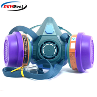 DEWBest 6021High Quality filter mask Silicone  respirator gas mask paint spray pesticides industrial safety protect mask