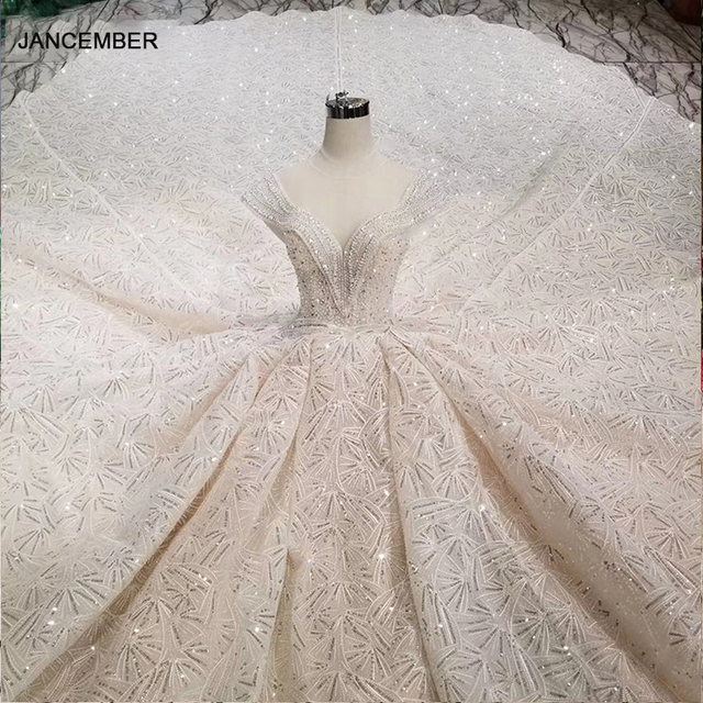 HTL001 Luxury shiny wedding dresses crystal cap sleeve illusion o neck handmade wedding gown open keyback vesridos de novia