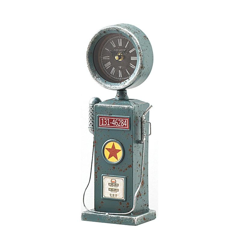Rétro auto-assistance vente machine modèle créatif étain table horloge décoration photo accessoires artisanat ameublement articles