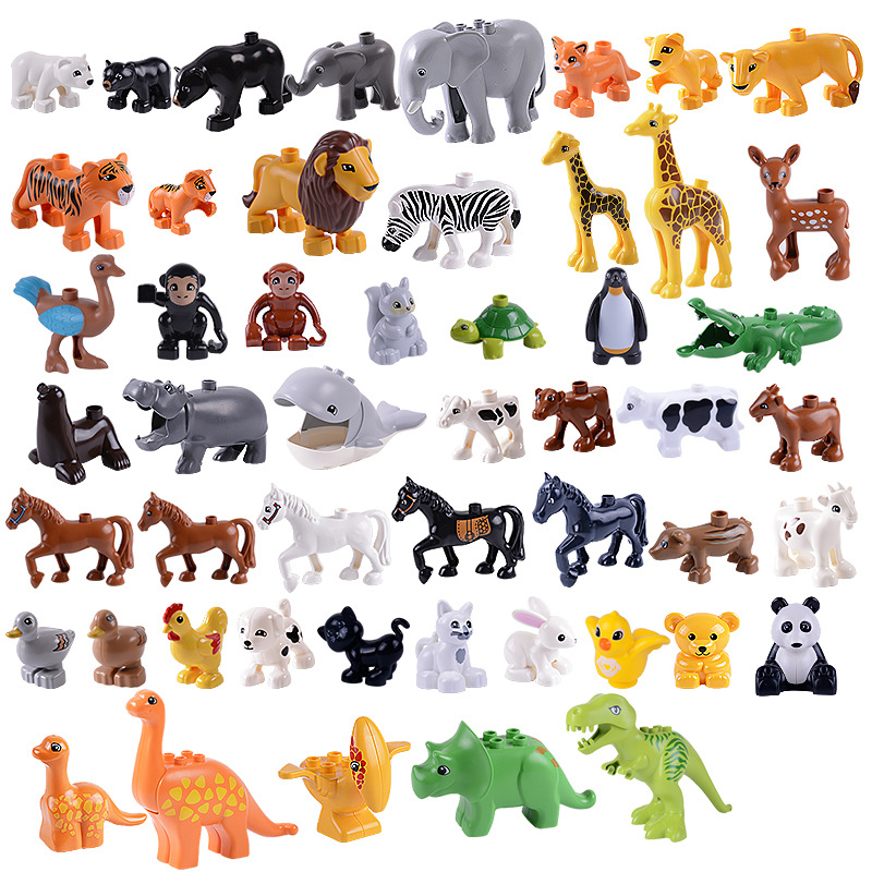 Big Particles Bricks Dog Whale Tiger Deer Dinosaur Building Blocks Zoo Hollow Duplo Animals Toys For Children Kids DIY Gift