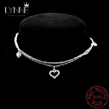 цена на New Fashion 925 Sterling Silver Heart Rhinestone CZ Pendant Double Layer Anklets Women Jewelry Summer Zircon Foot Chain Bracelet