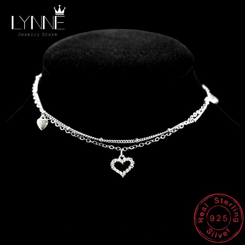 New Fashion 925 Sterling Silver Heart Rhinestone CZ Pendant Double Layer Anklets Women Jewelry Summer Zircon Foot Chain Bracelet