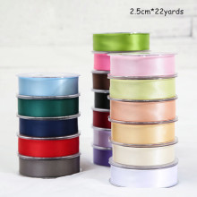 2.5cm Solid Color Silk Ribbon Double-sided Polyester Satin Gift Box Handmade DIY Decorative Material