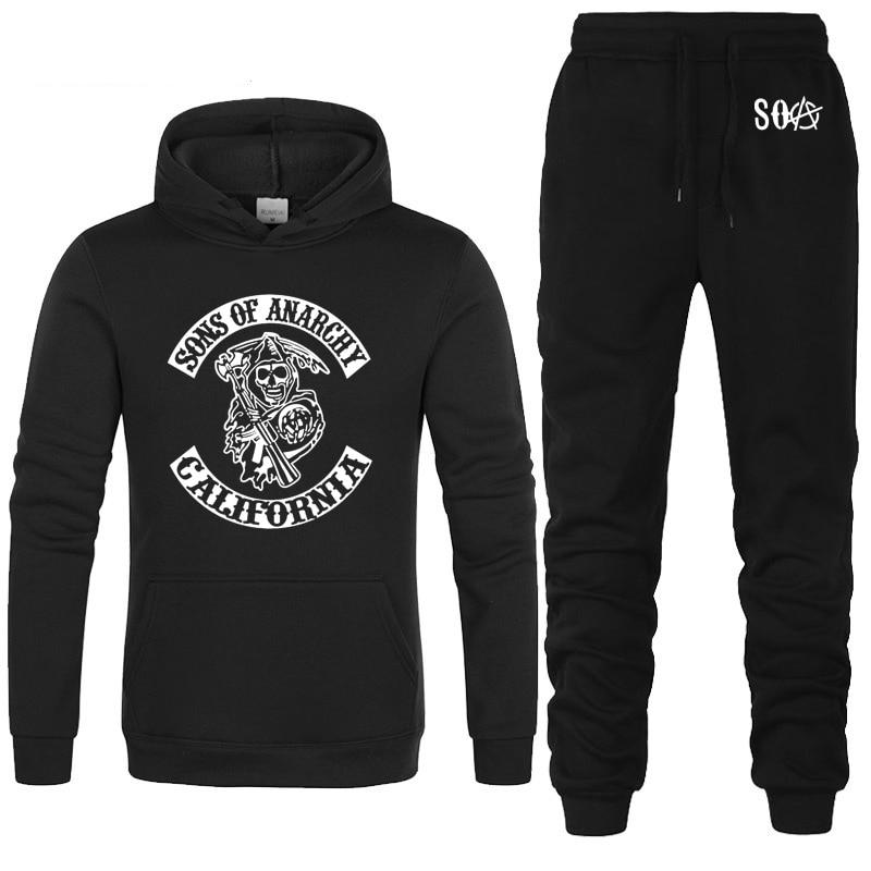SOA Sons Of Anarchy The Child Skull Printed Fashion Hoodies Men Casual Fleece Sweatshirt Hip Hop Mens Hoodies Pants Suit 2Pcs