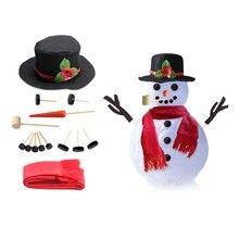 15/16pcs Set Simulation Christmas Snowman Dress Up Set Accessories Funny Make Snowmen Family Tool Kit Decorative Suit