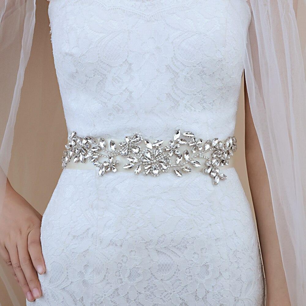 TRiXY S283 Crystal Rhinestones Wedding Belts Rhinestone Bridal Belt Wedding Dress Belt Wedding Accessories Bridal Sashes