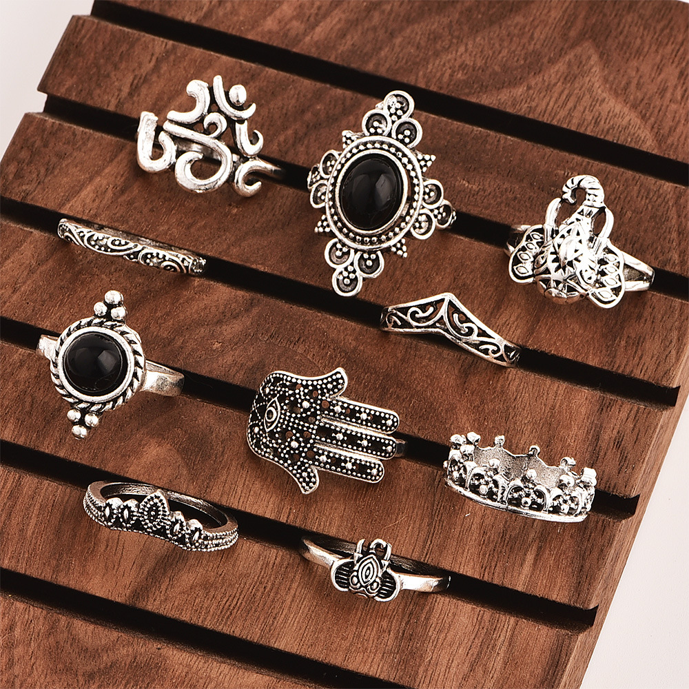ABDOABDO Boho Rings for Women Retro Elephant Palm Carved Black Gem Joint Ring Goth Ring Set Jewellery Accessories Anillos Mujer