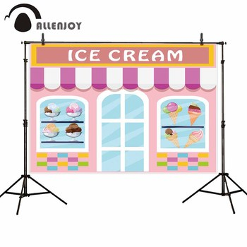 Allenjoy photophone backgrounds Ice cream dessert bar pink girls shop decor backdrops photographic photocall banner vinyl image