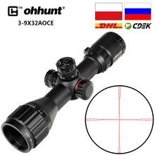 Ohhunt 3 9x32 AO optique de chasse compacte, 1/2, réticules à demi point, tourelles, verrouillage avec ombre du soleil, armes de stratégie