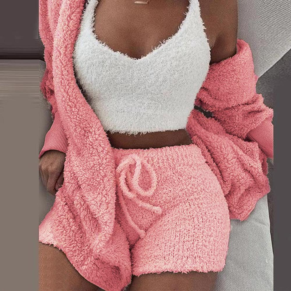 3XL Women Coral Velvet Pajamas Set Autumn Winter Warm Pajamas Two Piece Set Sleepwear Crop Tops Short Pants And Coat #1223