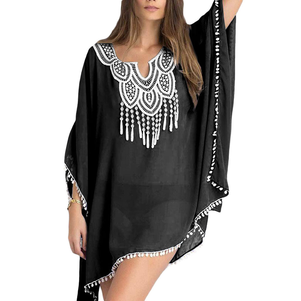 Summer Wear New Style Beach Skirt Women's Solid Color Embroidered Joint Bat Sleeve Loose-Fit Chiffon Dress 420082
