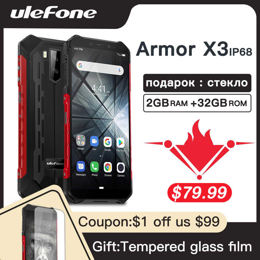"""Smartphone robuste Ulefone Armor X3 Android 9.0 IP68 Android 5.5 """"2 GB 32GB 5000mAh 3G téléphone portable robuste Android"""
