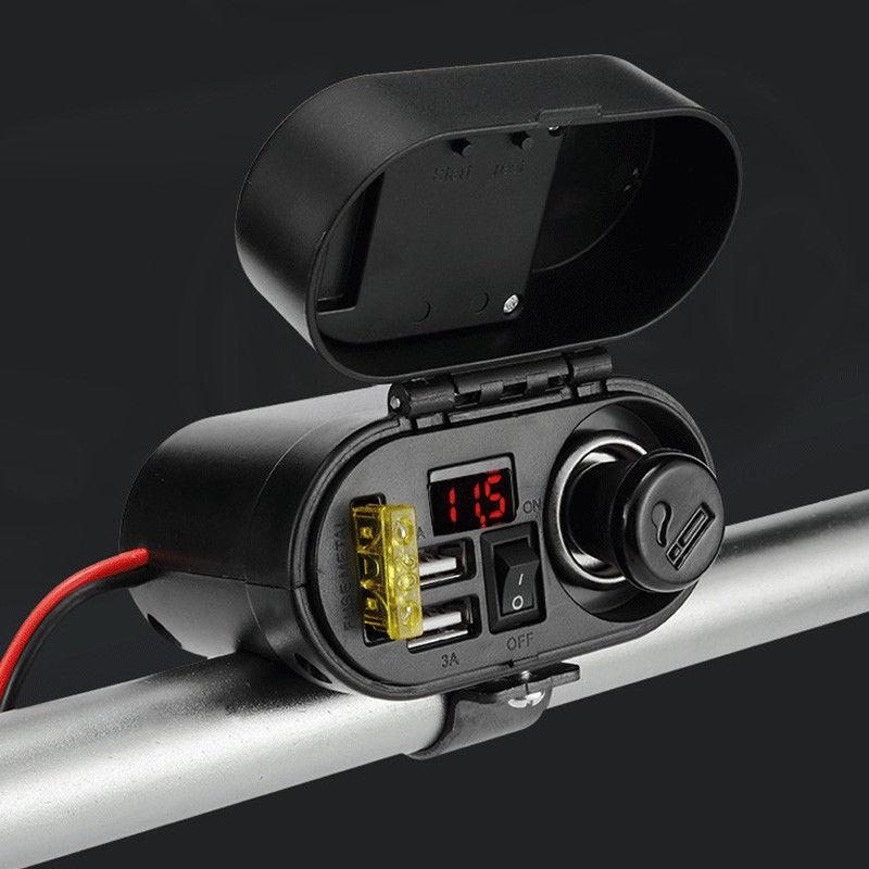 Otomobiller ve Motosikletler'ten Motosiklet Elektronik Aksesuarları'de Moto anahtarı USB şarj aleti çift USB şarj soketi su geçirmez güç çıkışı dijital ekran 12 24V araba tekne motosiklet atv title=