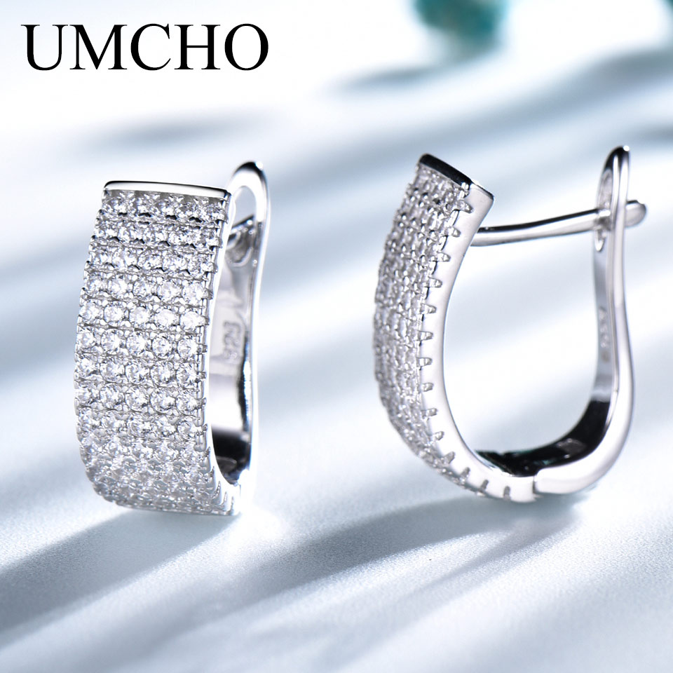 UMCHO Solid 925 Sterling Silver Clip Earrings Luxury Earrings For Women Anniversary Wedding Party Gift Fine Jewelry