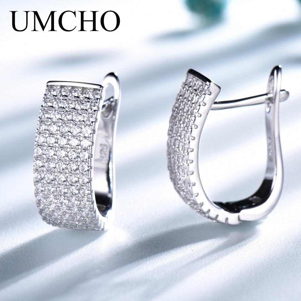 UMCHO Solid 925 Sterling Silver Clip Earrings Luxury Earrings For Women Anniversary Wedding Party Gift Fine Jewelry