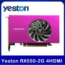 Yeston-tarjeta gráfica de 4 pantallas, HDMI, RX550-2G, compatible con pantalla dividida de 10 bits, profundidad de Color, HDR, 2G/128bit/GDDR5, con 4 tarjetas HDMI vídeo de PC
