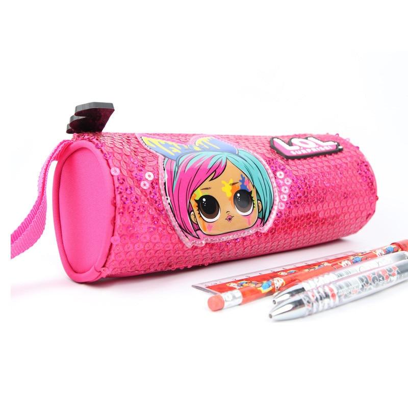 Lol surpresa bonecas caixa de lápis original l.o.l dos desenhos animados bonito lápis saco para meninas