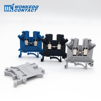 Din Rail Terminal Block UK-3N Conductor Universal Connector Electrical Wiring Screw Connection Terminal Connector UK3N 10Pcs din rail terminal block uk 2 5b wire electrical conductor universal connector screw connection terminal strip block uk2 5 10pcs